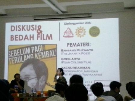 Susana diskusi dan bedah film sebelum pagi terulang kembali Selasa (30/12)